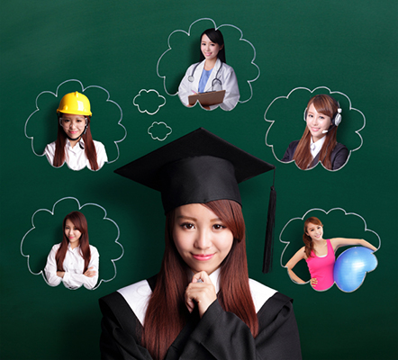 Smile student woman graduating and think her future and job, asian beauty